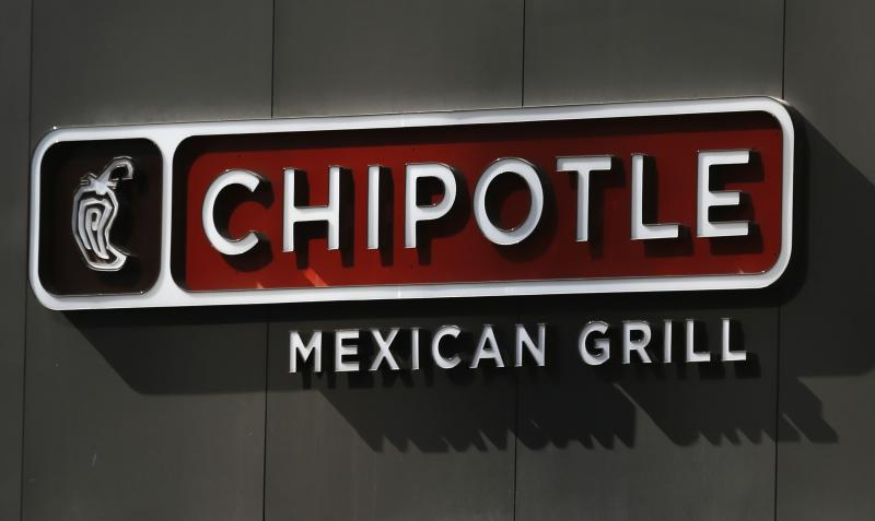 A Chipotle Restaurant sign is shown outside a Chipotle Restaurant in San Diego ,California