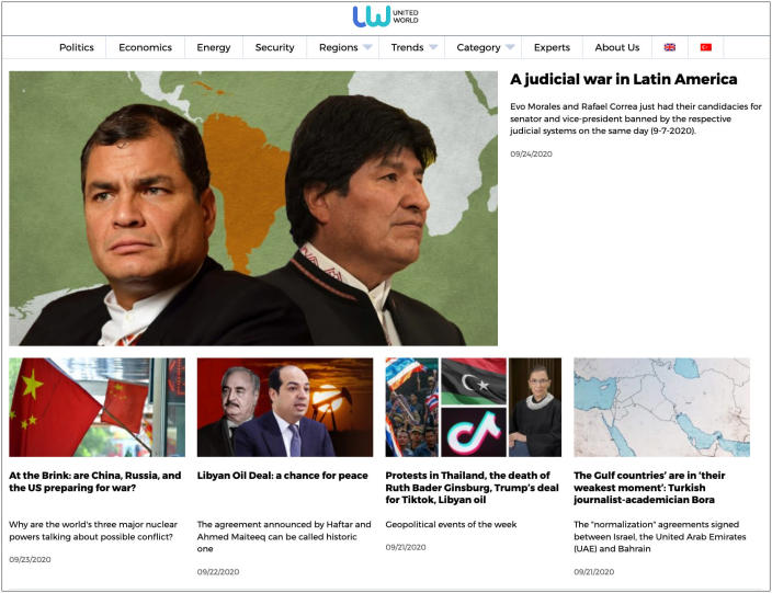 A screenshot of the homepage of United World International homepage, believed to be tied to individuals from the Internet Research Agency.