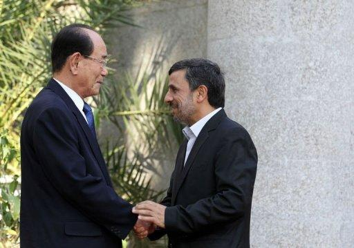 Kim Yong-Nam, left, stressed the need for more bilateral exchanges