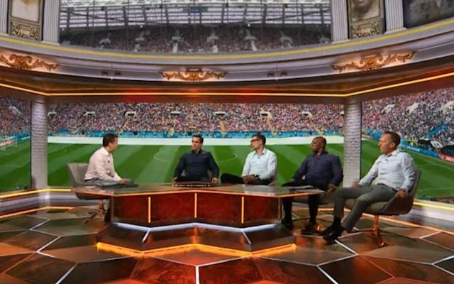 It's the 2018 World Cup and this one is bigger and better than ever for England fans, with ITV and BBC assembling a stellar line-up of pundits for their TV coverage. The two channels are once again sharing the rights to show the competition to UK audiences, with all 64 matches shown live. Former World Cup Golden Boot winner Gary Lineker is fronting the BBC's coverage of the event while Mark Pougatch is the face of ITV's offering. Regular BBC contributors Alan Shearer, Rio Ferdinand and Frank Lampard are joined by fresh additions in Didier Drogba and Pablo Zabaleta. Telegraph Sport columnist Alex Scott is a pundit, while Cesc Fabregas has also been added. ITV also have a stellar line up including former Manchester United players Gary Neville, Roy Keane and Ryan Giggs. Gary Neville is part of ITV's coverage of the 2018 World Cup Credit: Sky Sports Here's a full rundown of which channel will be showing which match. Group Stages Mon June 18: Sweden v South Korea (Group F), 1pm - ITV1 Mon June 18: Belgium v Panama (Group G), 4pm - BBC One Mon June 18: Tunisia v England (Group G), 7pm - BBC One Tues June 19: Colombia v Japan (Group H), 1pm - BBC One Tues June 19: Poland v Senegal (Group H), 4pm - BBC One Tues June 19: Russia v Egypt (Group A) - St Petersburg, 7pm - BBC One Wed June 20: Portugal v Morocco (Group B), 1pm - BBC One Wed June 20: Uruguay v Saudi Arabia (Group A), 4pm - BBC One Wed June 20: Iran v Spain (Group B), 7pm - ITV1 Thu June 21: Denmark v Australia (Group C), 1pm - ITV1 Thu June 21: France v Peru (Group C) - Ekaterinburg, 4pm - ITV1 Thu June 21: Argentina v Croatia (Group D),7pm - BBC One Fri June 22: Brazil v Costa Rica (Group E), 1pm - ITV1 Fri June 22: Nigeria v Iceland (Group D), 4pm - BBC One Fri June 22: Serbia v Switzerland (Group E), 7pm - BBC One Sat June 23: Belgium v Tunisia (Group G), 1pm - BBC One Sat June 23: South Korea v Mexico (Group F), 4pm - ITV1 Sat June 23: Germany v Sweden (Group F), 7pm - ITV1 Sun June 24: England v Panama (Group