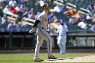 Baltimore Orioles starting pitcher Matt Harvey reacts during the fifth inning of a baseball game against the New York Mets, Wednesday, May 12, 2021, in New York. Harvey allowed seven earned runs in four and a third innings. The Mets beat the Orioles 7-1. (AP Photo/Kathy Willens)