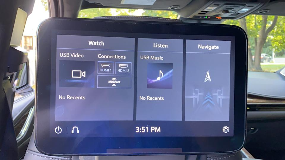 Rear-seat entertainment system touch screen in 2021 Cadillac Escalade