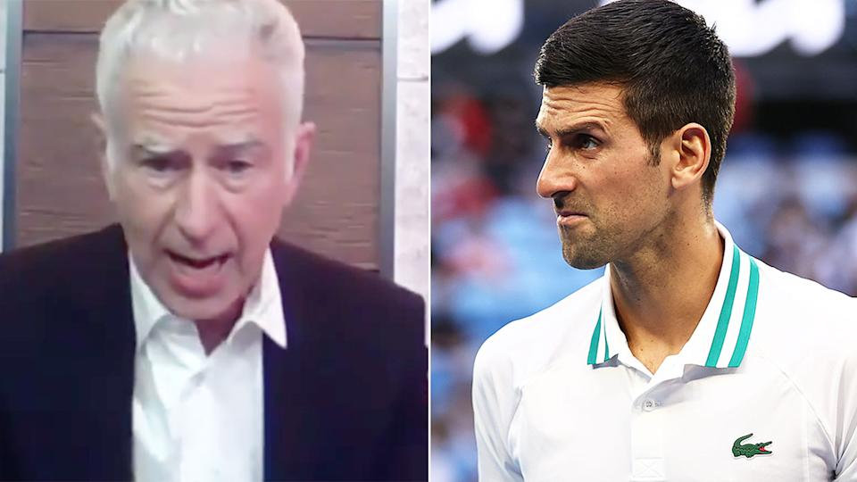 Seen here, John McEnroe weighed in on Novak Djokovic and his divisive injury issues.