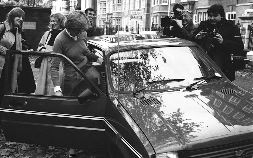 7/11/1980 Lady Diana Spencer leaving her Earls Court flat and getting into her Metro car - PA