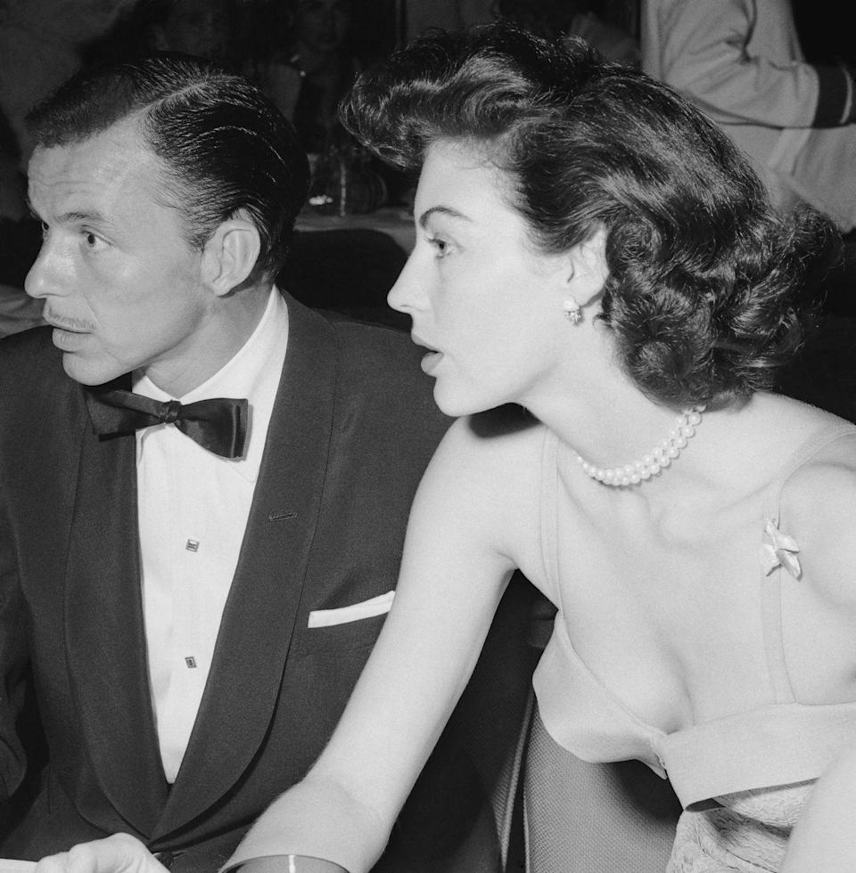 <p>Frank Sinatra and actress Ava Gardner at the opening of his nightclub in 1951. The couple got married that year.</p>