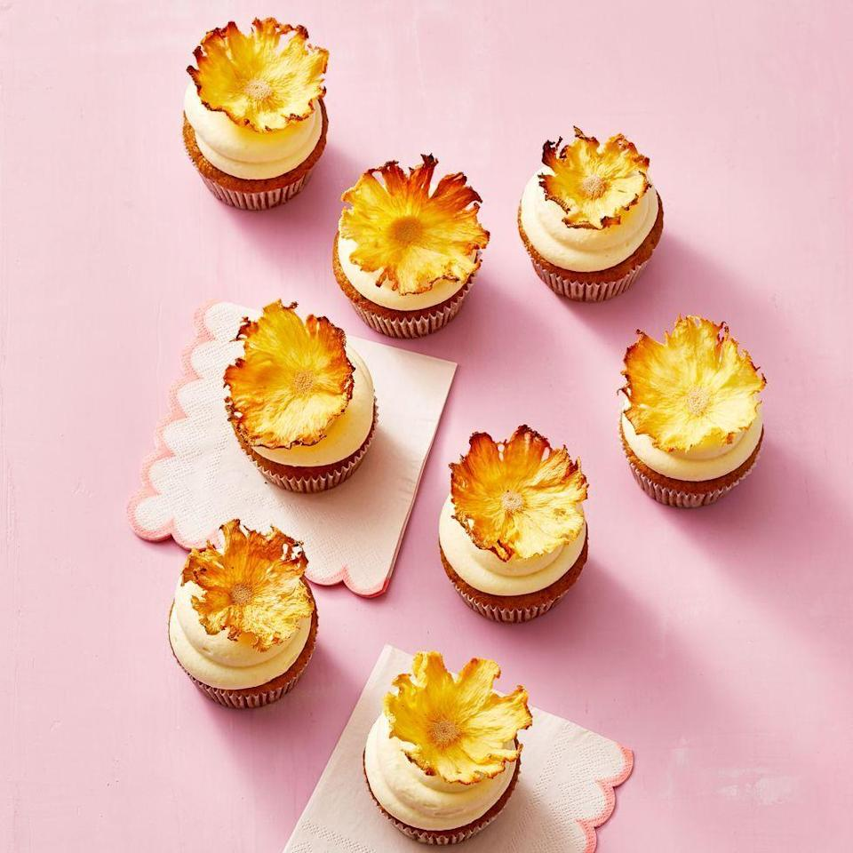 "<p>A unique blend of flavors are used to create these cupcakes that are also topped with lovely DIY pineapple flowers.</p><p><a href=""https://www.goodhousekeeping.com/food-recipes/a35537898/carrot-pineapple-cupcakes-recipe/"" rel=""nofollow noopener"" target=""_blank"" data-ylk=""slk:Get the recipe for Carrot-Pineapple Cupcakes »"" class=""link rapid-noclick-resp""> <em>Get the recipe for Carrot-Pineapple Cupcakes »</em></a></p>"