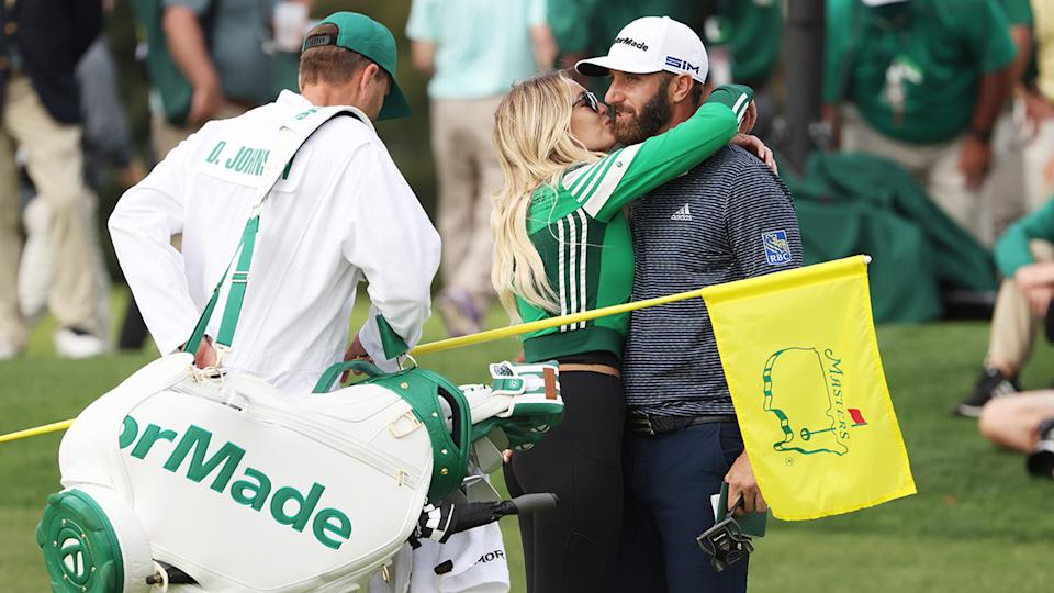 Dustin Johnson and Paulina Gretzky, pictured here celebrating after winning the Masters.