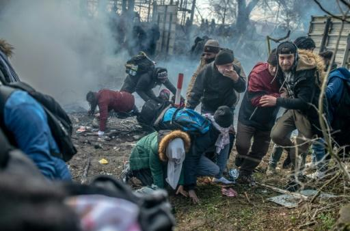 Migrants faced tear gas during clashes with Greek police on the Turkey-Greece border