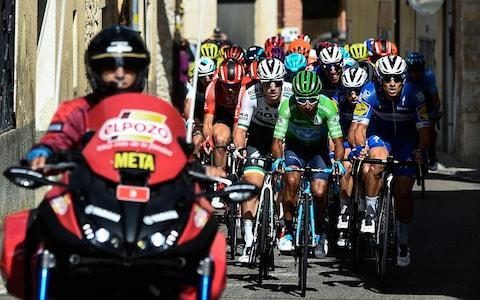 <span>Nairo Quintana rides on the front of the breakaway on a dramatic day in Spain</span> <span>Credit: Getty Images </span>