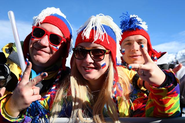 SOCHI, RUSSIA - FEBRUARY 08: Fans enjoy the atmosphere during the Snowboard Men's Slopestyle Semifinals/Finals during day 1 of the Sochi 2014 Winter Olympics at Rosa Khutor Extreme Park on February 8, 2014 in Sochi, Russia. (Photo by Julian Finney/Getty Images)