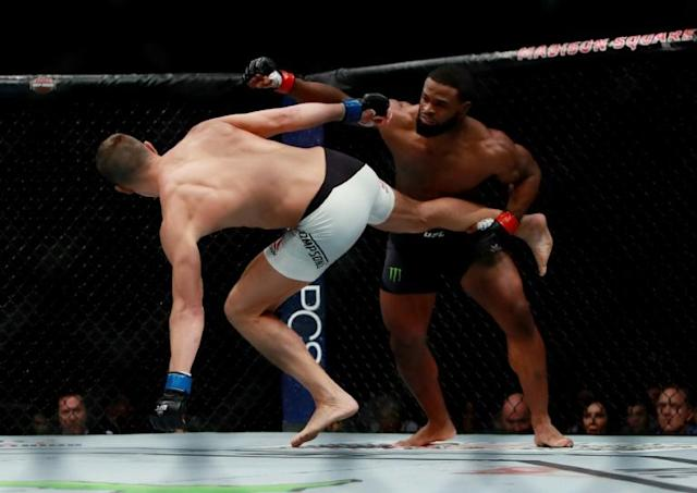 Tyron Woodley, pictured here in 2016, was defeated by Brazil's Gilbert Burns (AFP Photo/Michael Reaves)