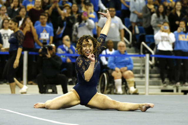 UCLA's Katelyn Ohashi competes in floor exercise during a PAC-12 meet against Arizona State at Pauley Pavilion on January 21, 2019 in Los Angeles, California. (Photo by Katharine Lotze/Getty Images)