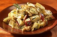 """<p>This recipe incorporates apples for an unexpected touch of sweetness in your everyday potato salad. Take some diced potatoes and toss them in olive oil, rosemary, salt and pepper before roasting in the oven. Next, dice up some <a href=""""https://www.thedailymeal.com/eat/apple-varieties-uses?referrer=yahoo&category=beauty_food&include_utm=1&utm_medium=referral&utm_source=yahoo&utm_campaign=feed"""" rel=""""nofollow noopener"""" target=""""_blank"""" data-ylk=""""slk:apples"""" class=""""link rapid-noclick-resp"""">apples </a>and mix with the roasted potatoes, tangy mustard dressing and chopped walnuts.</p> <p><a href=""""https://www.thedailymeal.com/recipes/roasted-rosemary-idaho-potato-and-apple-salad-recipe?referrer=yahoo&category=beauty_food&include_utm=1&utm_medium=referral&utm_source=yahoo&utm_campaign=feed"""" rel=""""nofollow noopener"""" target=""""_blank"""" data-ylk=""""slk:For the Roasted Rosemary Idaho Potato and Apple Salad recipe, click here."""" class=""""link rapid-noclick-resp"""">For the Roasted Rosemary Idaho Potato and Apple Salad recipe, click here.</a></p>"""