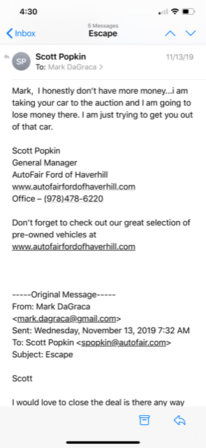 """Mark DaGraca owned a 2016 Ford Focus that required five clutch replacements. He ended up with a new car loan and higher payments when trading the defective car for a Ford Escape. The dealer wrote, """"I am just trying to get you out of that car."""""""