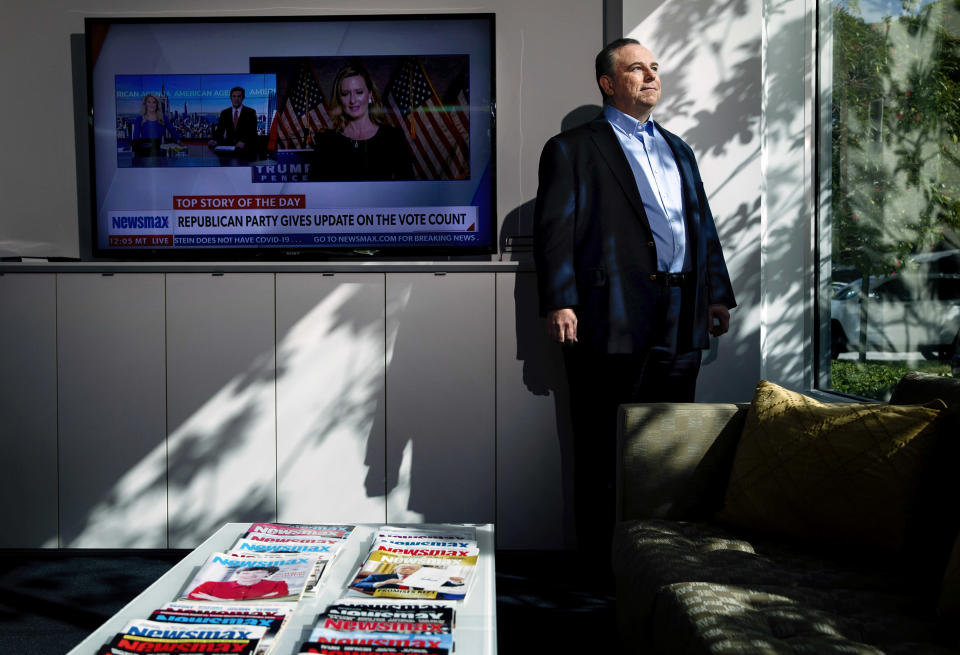 Christopher Ruddy, owner of the conservative cable network Newsmax, in his office in Boca Raton, Fla., Nov. 19, 2020. (Scott McIntyre/The New York Times)