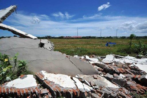 A wall of a prison which collapsed after powerful earthquake hit west coast of Indonesia, in Banda Aceh on April 11