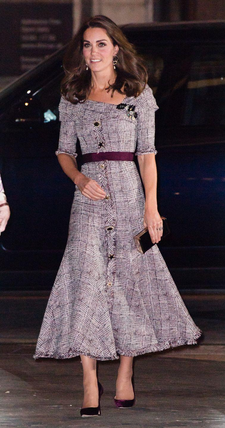 <p>Kate had a major fashion moment in 2018 when she arrived to an event at the Victoria & Albert Museum in an Erdem dress with a burgundy belt. </p>