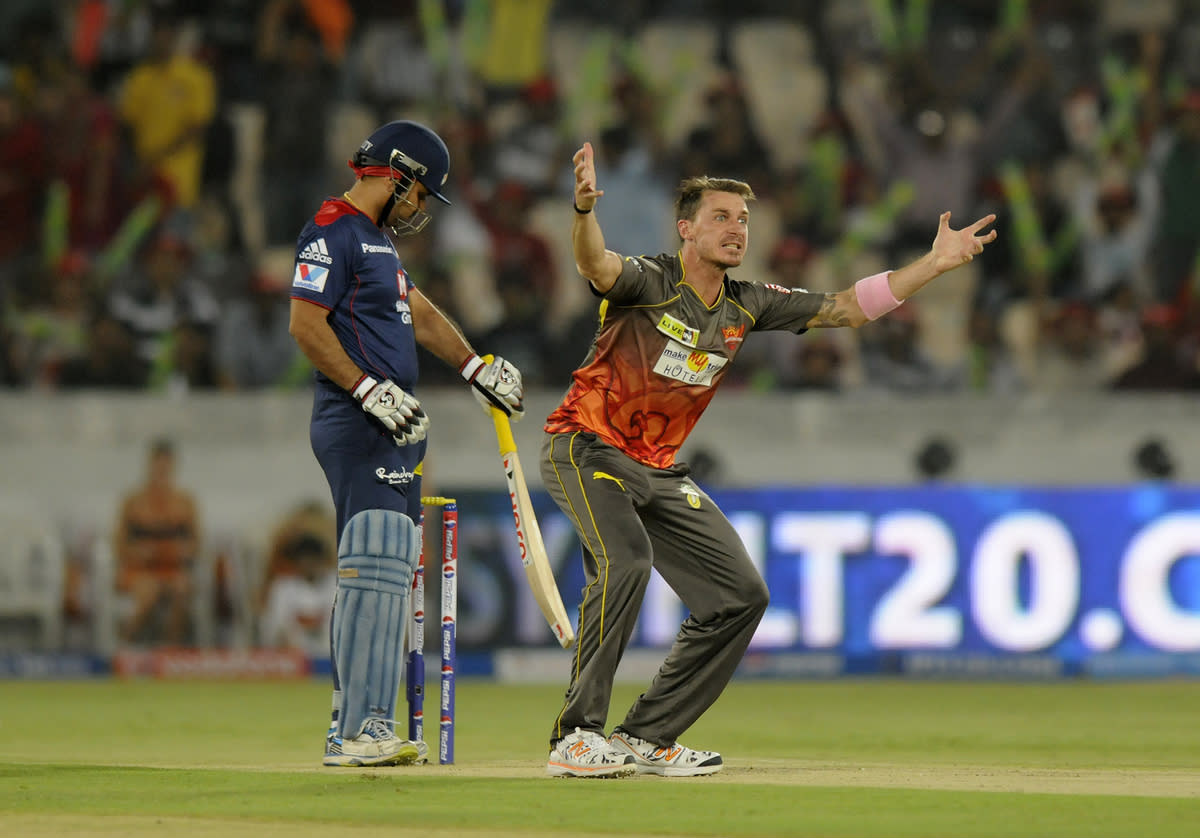 Dale Steyn of Sunrisers Hyderabad appeals unsuccessfully for the wicket of Virender Sehwag of Delhi Daredevils during match 48 of the Pepsi Indian Premier League between The Sunrisers Hyderabad and Delhi Daredevils held at the Rajiv Gandhi International  Stadium, Hyderabad  on the 4th May 2013..Photo by Pal Pillai-IPL-SPORTZPICS ..Use of this image is subject to the terms and conditions as outlined by the BCCI. These terms can be found by following this link:..https://ec.yimg.com/ec?url=http%3a%2f%2fwww.sportzpics.co.za%2fimage%2fI0000SoRagM2cIEc&t=1506282255&sig=0CRSbRP15uVvrqxG.UTCGw--~D