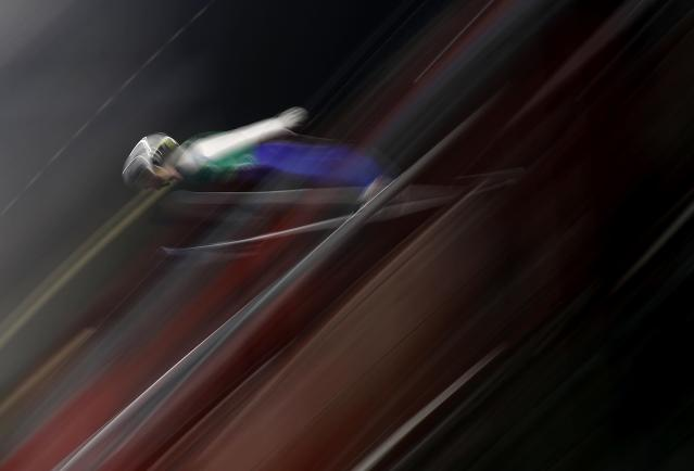 Ski Jumping - Pyeongchang 2018 Winter Olympics - Men's Team Trial round - Alpensia Ski Jumping Centre - Pyeongchang, South Korea - February 19, 2018 - Andreas Alamommo of Finland competes. REUTERS/Kai Pfaffenbach