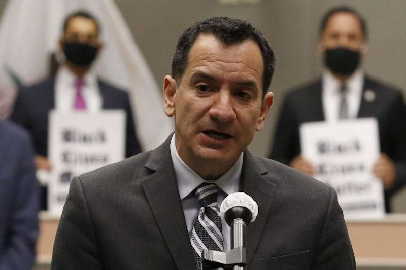 Assembly Speaker Anthony Rendon discusses his support to a measure by Mike Gipson, D-Carson, to ban sleeper hold.