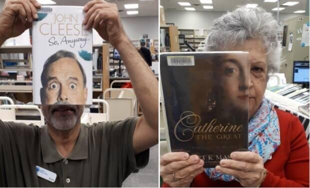 Staff get creative using partial faces on the covers of their favourite reads.