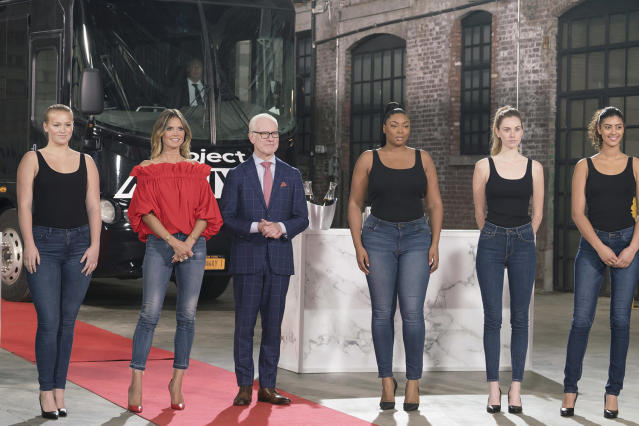 Heidi Klum and Tim Gunn along with models of all shapes and sizeson the Season 16 premiere of <em>Project Runway</em> on Aug. 17. (Photo: Barbara Nitke/Lifetime)