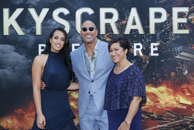 Actor Dwayne Johnson, his daughter Simone Alexandra Johnson (L) and his mother Ata Johnson (R) attend the premiere of 'Skyscraper' on July 10, 2018 in New York City. (Photo by KENA BETANCUR / AFP) (Photo credit should read KENA BETANCUR/AFP via Getty Images)