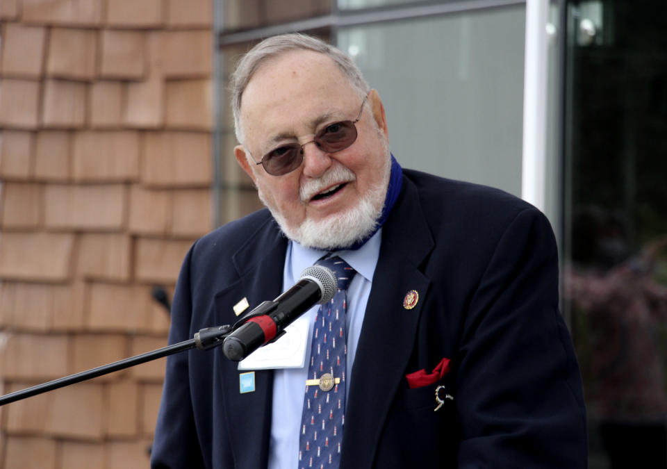 In this Aug. 26, 2020, photo, U.S. Rep. Don Young, an Alaska Republican, speaks during a ceremony in Anchorage, Alaska, celebrating the opening of a Lady Justice Task Force cold case office which will specialize in cases involving missing or murdered Indigenous women. Young announced Thursday, Nov. 12, 2020, on Twitter that he has tested positive for COVID-19. (AP Photo/Mark Thiessen)