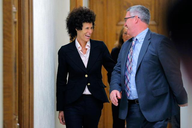 <p>Accuser Andrea Constand departs the courtroom during the fifth day of deliberations in Bill Cosby's sexual assault trial at the Montgomery County Courthouse on June 16, 2017 in Norristown, Pa. (Photo: Lucas Jackson-Pool/Getty Images) </p>