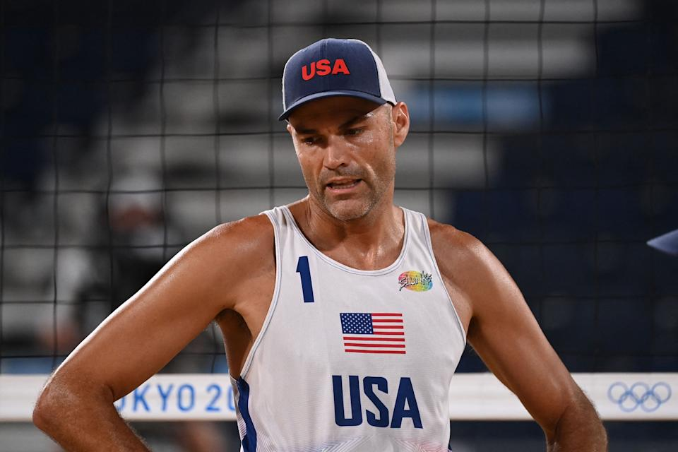 Olympic gold medalist Phil Dalhausser announced his retirement from beach volleyball.  (Photo by ANGELA WEISS/AFP via Getty Images)