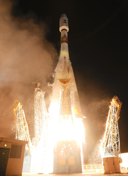 This photo provided by ESA (European Space Agency) shows a Soyuz rocket taking off from the Kourou space base, French Guiana, Thursday Dec.19, 2013. The European Space Agency successfully launched a satellite, named Gaia, Thursday in a bid to produce the most accurate three-dimensional map of our part of the Milky Way, and provide an insight into the evolution of the galaxy. (AP Photo/ESA-Stephane Corvaja)