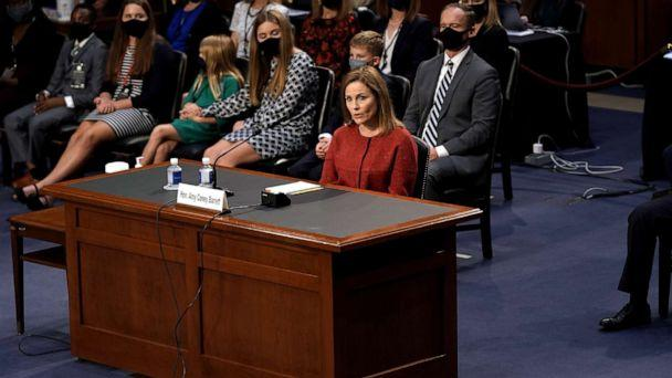 PHOTO: Supreme Court nominee Judge Amy Coney Barrett testifies before the Senate Judiciary Committee on the second day of her Supreme Court confirmation hearing on Capitol Hill, Oct. 13, 2020 in Washington, DC. (Greg Nash/Getty Images)