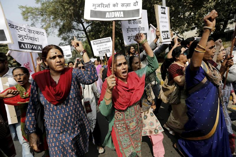 Protest: Activists from All India Democratic Women's Association (AIDWA) during protest demanding a probe into rapes (Anindito Mukherjee/Reuters)