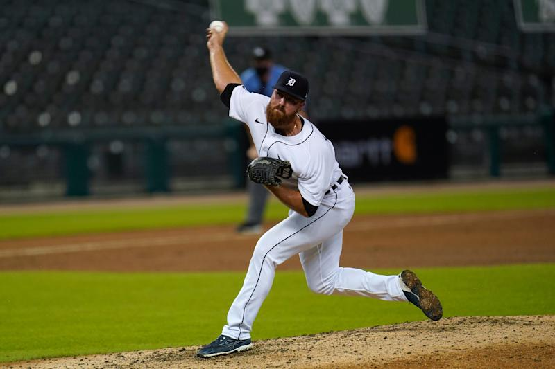 Detroit Tigers pitcher Buck Farmer throws against the Chicago Cubs in the ninth inning of a baseball game in Detroit on Wednesday, Aug. 26, 2020. Detroit won 7-6.