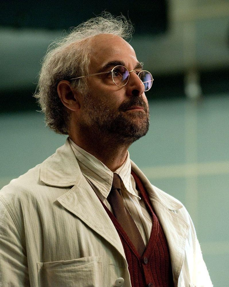 <p>Here's Tucci in the first <em>Captain America</em>. You can already see beneath his wispy hair a head that was always made to be bald.</p>