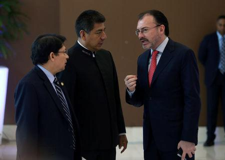 Mexico's Foreign Minister Luis Videgaray (R) talks with his counterparts from Nicaragua Denis Moncada (L) and Bolivia, Fernando Huanacuni, during a round of talks with delegates of President Nicolas Maduro's government and Venezuela's opposition coalition, in Santo Domingo, Dominican Republic January 12, 2018.  REUTERS/Roberto Guzman