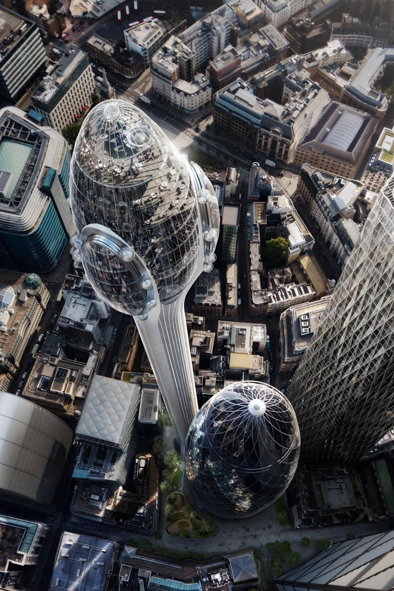 London's highest viewing platform would soar almost 1,000 ft above the City (DBOX/Foster + Partners)