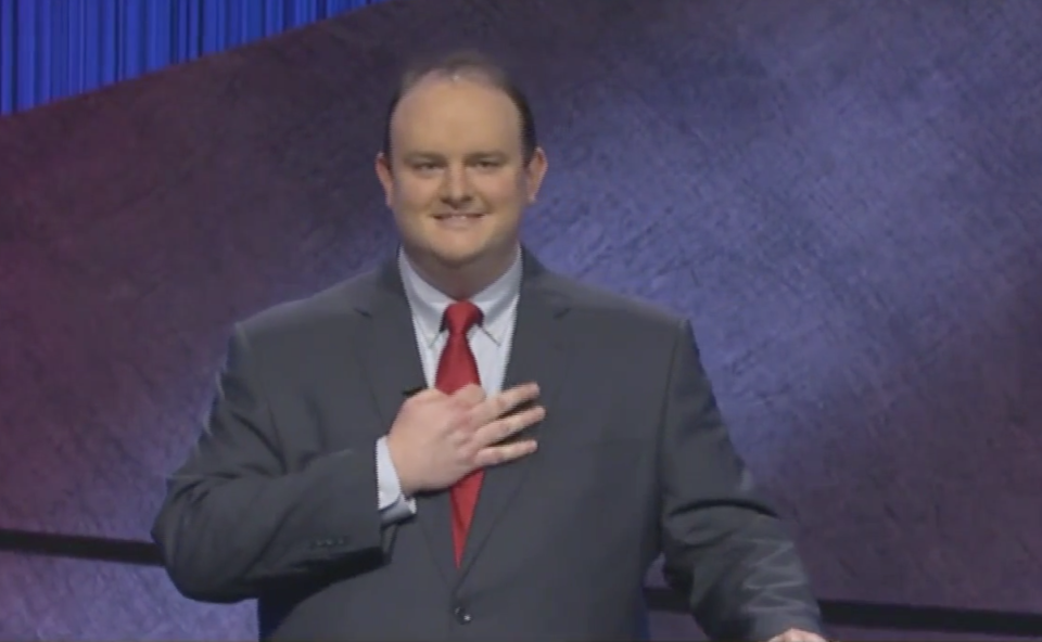 Kelly Donohue was widely condemned after making this gesture at the start of his fourth episode. Source: Jeopardy!
