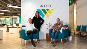 (L-R) Jamie Sims, Co-Founder, Blair Brady, CEO and Co-Founder, Bowen Mendelson, Executive Creative Director at the WITH/Agency offices in Atlanta.