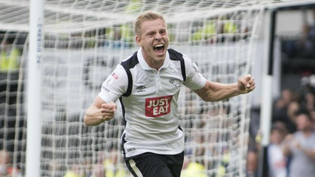 Derby County still have faint play-off hopes to harbour after Matej Vydra's 70th-minute effort saw off QPR in the Championship.