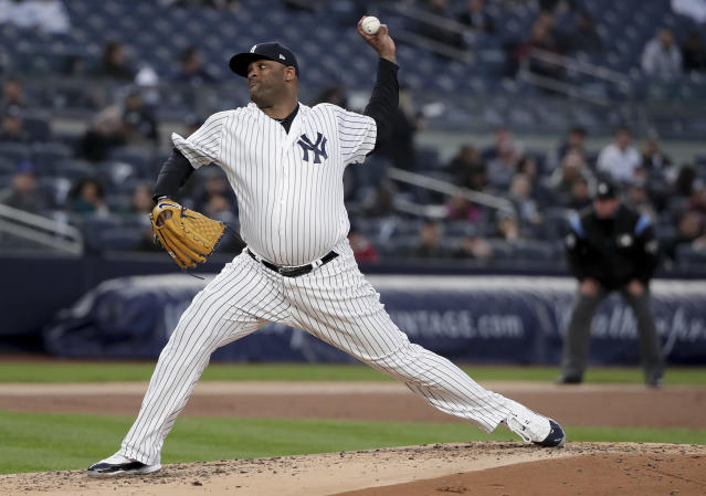 New York Yankees pitcher CC Sabathia delivers against the Minnesota Twins during the second inning of a baseball game Tuesday, April 24, 2018, in New York. (AP Photo/Julie Jacobson)