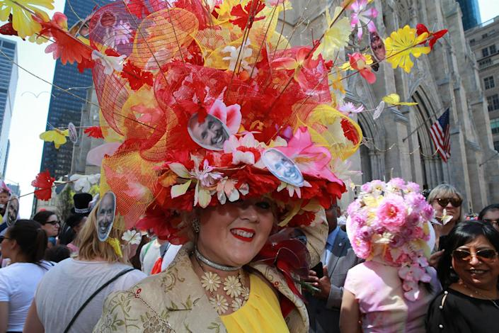 <p>Vanessa from Astoria shows off her amazing bonnet during the annual Easter Parade and Easter Bonnet Festival on the Fifth Avenue in New York on April 16, 2017. (Photo: Gordon Donovan/Yahoo News) </p>
