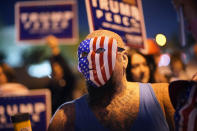 Supporters of President Donald Trump protest the Nevada vote in front of the Clark County Election Department, Wednesday, Nov. 4, 2020, in Las Vegas. (AP Photo/John Locher)