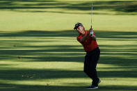 Bernhard Langer, of Germany, hits on the 15th hole during the second round of the Masters golf tournament Friday, Nov. 13, 2020, in Augusta, Ga. (AP Photo/David J. Phillip)