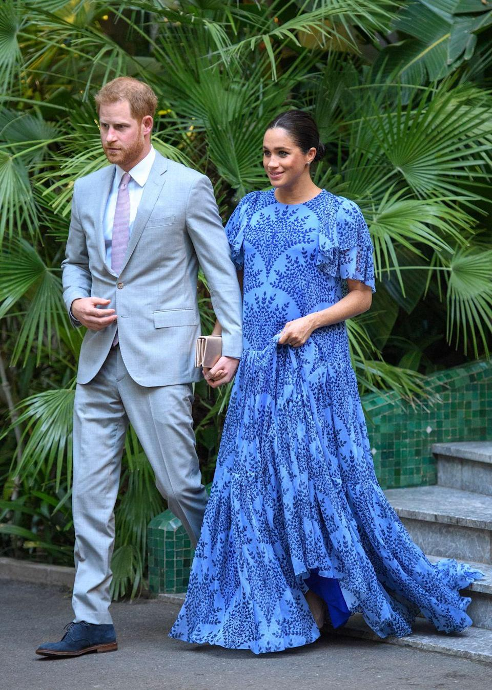 <p>Before concluding their royal tour of Morocco, the Duke and Duchess of Sussex attended a private audience with King Mohammed VI of Morocco at his residence. Meghan Markle looked elegant in a blue patterned evening gown by Carolina Herrera. </p>