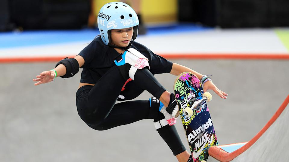 Britain's skateboarding prodigy Sky Brown performing a trick in competition.