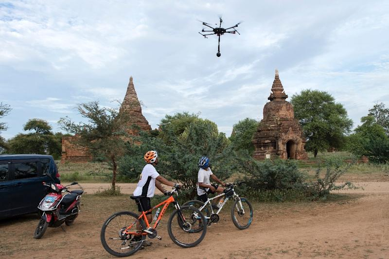The data recorded by drones allows those with virtual reality headsets to explore Myanmar's temples,their crumbling centuries-old walls so close it feels like you can touch them (AFP Photo/Ye Aung Thu)