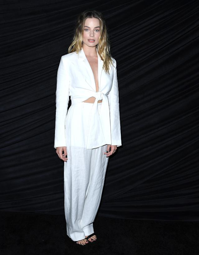 """WEST HOLLYWOOD, CALIFORNIA - OCTOBER 13: Margot Robbie poses at the Special Screening Of Lionsgates' """"Bombshell"""" at Pacific Design Center on October 13, 2019 in West Hollywood, California. (Photo by Steve Granitz/WireImage)"""