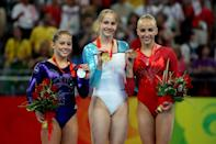 <b>2008 Beijing Olympics</b><br>BEIJING - AUGUST 17: (L-R) Shawn Johnson of the United States poses with the silver medal, Sandra Izbasa of Romania poses with the gold medal and Nastia Liukin of the United States poses with the bronze medal in the women's individual floor final in the artistic gymnastics event held in National Indoor Stadium on Day 9 of the Beijing 2008 Olympic Games on August 17, 2008 in Beijing, China. (Photo by Jed Jacobsohn/Getty Images)