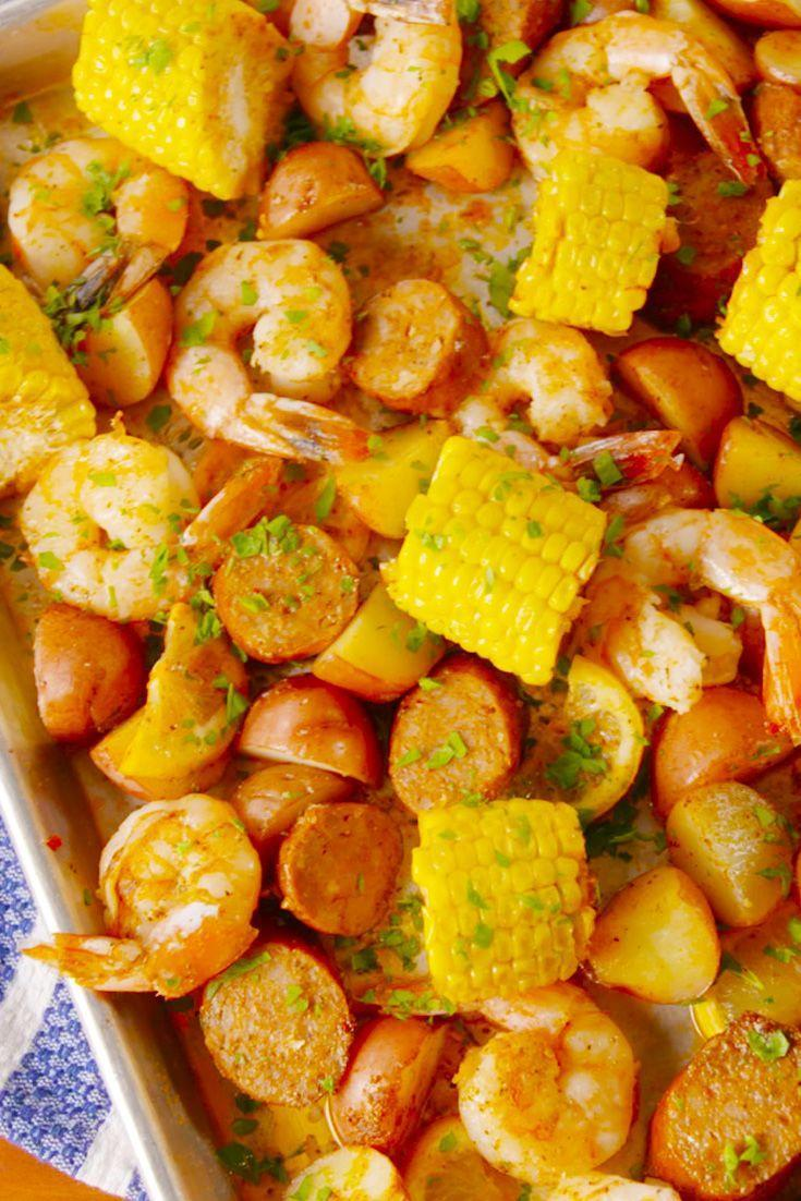 "<p>Everything you love about a good ol' fashioned shrimp boil, minus the mess.</p><p>Get the recipe from <a href=""https://www.delish.com/cooking/recipe-ideas/recipes/a53582/sheet-pan-shrimp-boil-recipe/"" rel=""nofollow noopener"" target=""_blank"" data-ylk=""slk:Delish"" class=""link rapid-noclick-resp"">Delish</a>.</p>"